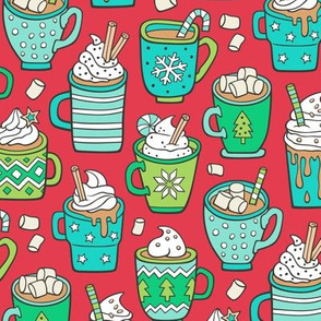 Hot Winter Christmas Drinks with Marshmallows Mint & Green on Dark Red
