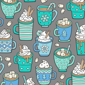 Hot Winter Christmas Drinks with Marshmallows Blue Mint Green on Grey