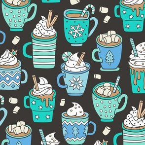 Hot Winter Christmas Drinks with Marshmallows Blue Mint Green on Black