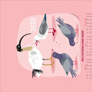 BIN CHICKENS DOWN UNDER 2020 calendar tea towel by Mount Vic and Me
