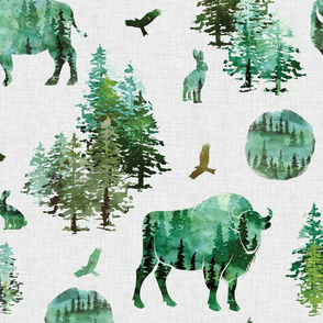green watercolor fall bison on gray linen background
