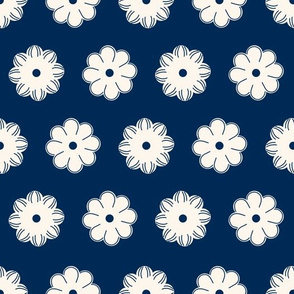 Aligned beige flowers on a dark blue