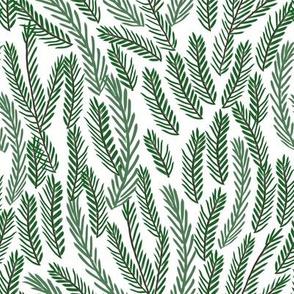 SMALL - pine needles christmas tree fabric pattern minimal forest winter light