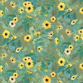 Dune Sunflowers on Olive 600