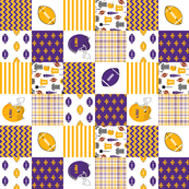 """lsu quilt 3"""" squares - louisiana quilt, purple and gold quilt, football quilt, sports quilt, college sports quilt - lsu"""