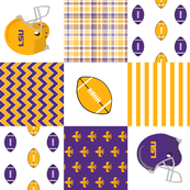 """lsu quilt 6"""" squares - louisiana quilt, purple and gold quilt, football quilt, sports quilt, college sports quilt - lsu"""