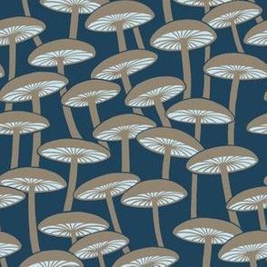 Mushrooms - Brown Mushroom and Cloud Gills on Navy