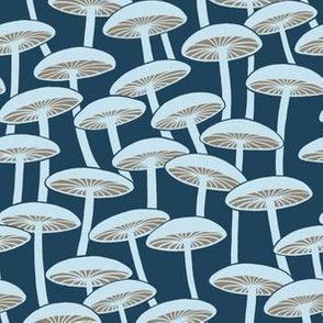 Mushrooms - Cloud Mushrooms with Brown Gills  on Navy