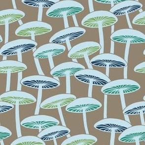 Mushrooms - Multicolor on Brown