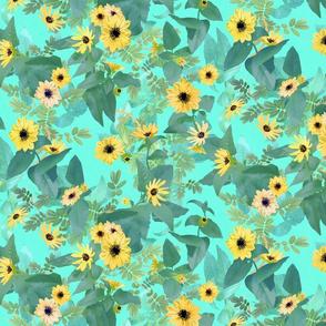 Dune Sunflowers on Turquoise 600