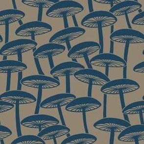 Mushrooms - Hollow Navy Mushroom on Brown