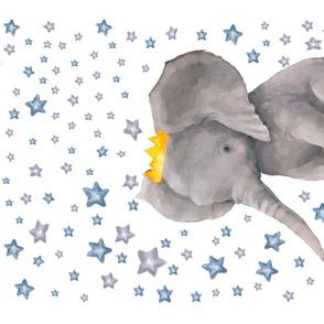 "56""x36"" Baby Boy Elephant with Surrounding Stars"
