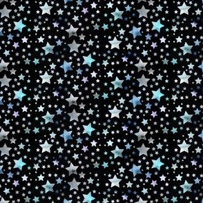 Stars - watercolour blue - black background - tiny scale