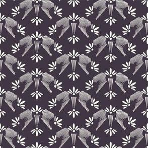 Art Nouveau ornamental flower motif Jugenstil style.