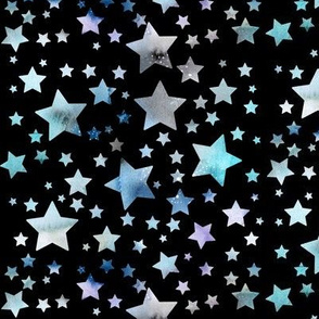 Stars - watercolour blue - black background