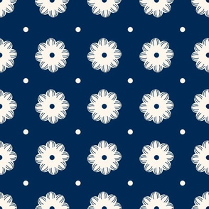 Beige flowers and dots aligned over dark blue