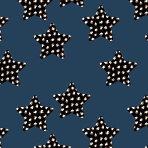 Leopard print stars seasonal Christmas animal print navy blue black rust