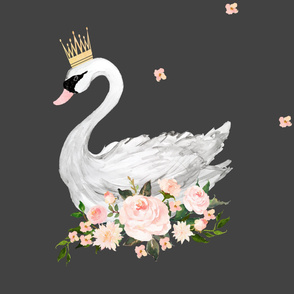 Swan with Roses in Grey - Wallpaper