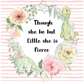 "27""x36"" / 2 to 1 Yard of Minky / Though She Be Little Fierce Girl Dino"