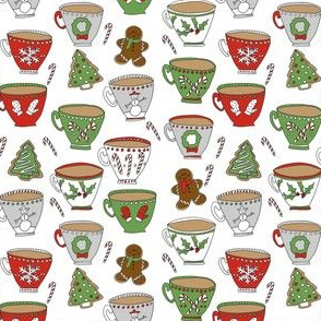 SMALL - christmas tea and coffee // hot chocolate, cocoa,  christmas, holiday, xmas, candy cane, teacup, tea party, snowman, snowflake - white