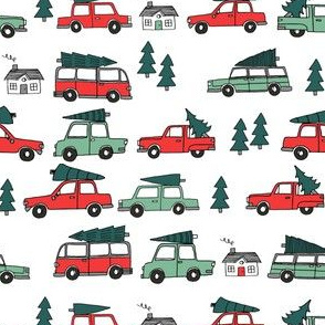 SMALL - Christmas cars with christmas trees cute fabric winter holiday red_white