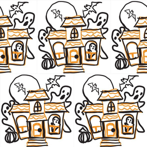 haunted house line drawing-yellow black