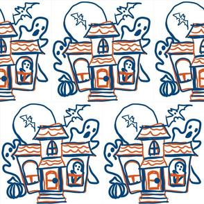 haunted house line drawing-blue orange