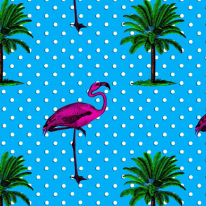 Flamingos and palm trees with polka dots