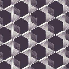 Seamless vector pattern. Linocut hexagonal quilt shapes. R