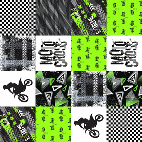 MotoCross Wholecloth Quilt - Grunge - Cheater Quilt - Patchwork Quilt - Moto2_Rotated