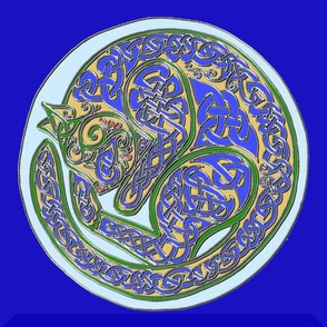 Celtic Cat Dreams in Cloisonne Blue