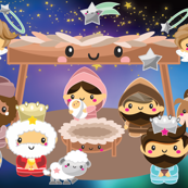 Christmas nativity  1 yard minky panel