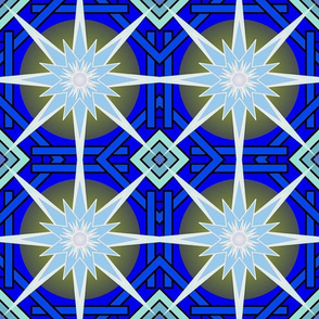 Blue star burst geometric pattern