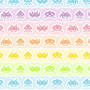 Pastel Rainbow Space Invaders