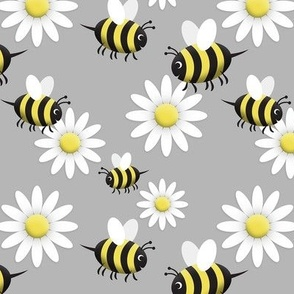 Happy Bee and Daisy Pattern