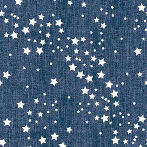 Celestial, blue on purple linen