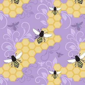 Purple Honeycomb Bee Pattern