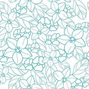 orange blossom garden white and blue