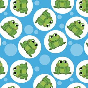 Cute Frog Pattern on Blue