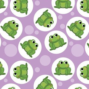 Cute Frog Pattern on Purple