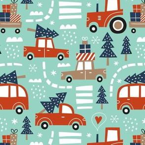 cute christmas cars - mint, small