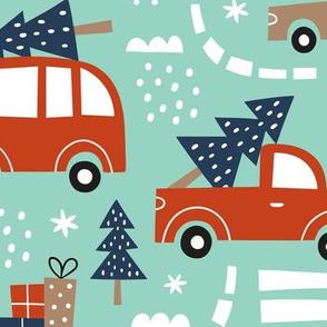 cute christmas cars - mint, large