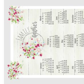 Family Gather 2020 tea towel- shabby bouquet