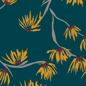 batik witch hazel - yellow flowers on dark teal