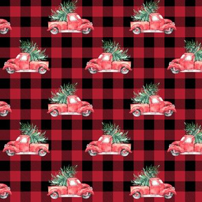 "2"" Christmas Vintage Trucks // Red Buffalo Check"