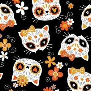 cute halloween cats - black