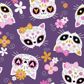 cute halloween cats - purple