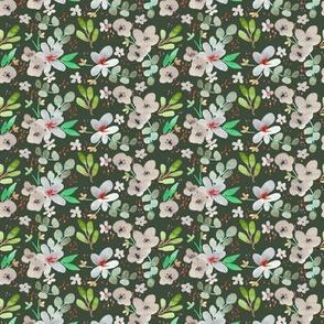 christmas floral dark green mini