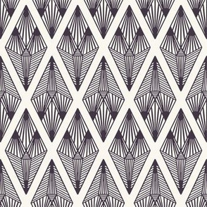 Seamless vector pattern. Linocut striped diamond shapes.