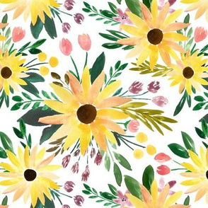 fall sunflowers floral watercolor